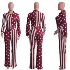 Polka Dot Striped Long Sleeve Jumpsuit SH-390189