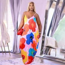 Plus Size Flowear Print Sling Loose Maxi Dress FST-FA7235
