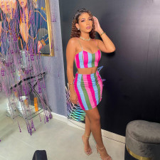 Sexy Striped Cami Top Mini Skirt Two Piece Sets FST-FA7227