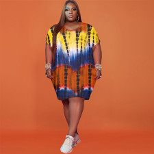 Plus Size Printed Short Sleeve Casual Dress FST-FA7200