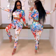 Casual Printed Long Sleeve Two Piece Pants Set FST-FA7046
