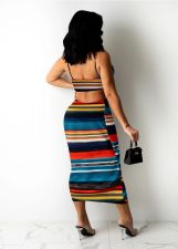 Sexy Striped Backless Hollow Out Sling Maxi Dress FST-FA7240