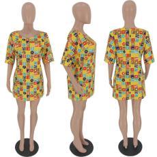 Casual Printed Short Sleeve Mini Dress FST-FA7031