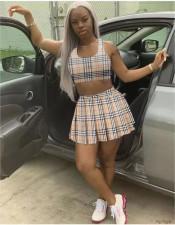 Plaid Tank Top Pleated Mini Skirt Tennis 2 Piece Sets FST-FA7216