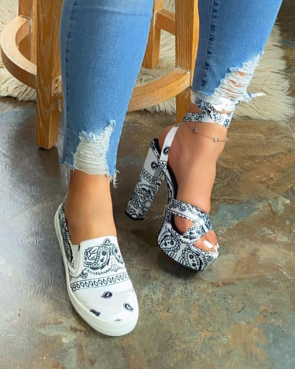 Casual Printed Slip On Comfortable Flats Loafers MYAF-1036