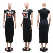 Casual Printed Short Sleeve Hole Slim Maxi Dress CYA-9141