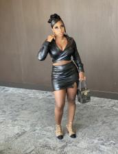 PU Leather Long Sleeve Top Mini Skirt 2 Piece Sets BS-1282