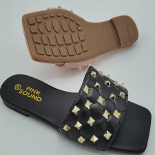 Square Toe Rivet Slipper Sandals Shoes MYAF-9244