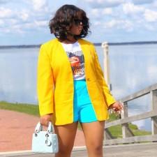 Yellow Long Sleeve Blazer Coat BGN-186
