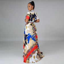 Plus Size Printed Short Sleeve Pleated Maxi Skirt 2 Piece Sets CYA-9133