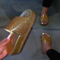 Rhinestones Platform Shoes Peep-toe Slippers Sandal MYAF-1012