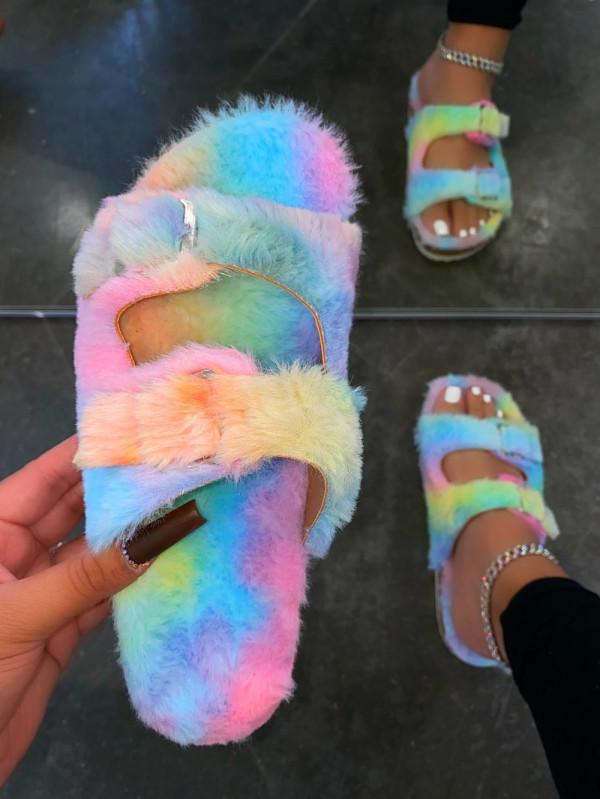 Candy Color Villus Flat Slippers MYAF-1028