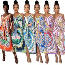 Africa Print Off Shoulder Split  Long Dress CYA-9117