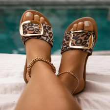 Square Buckle Flat Slippers Sandals MYAF-9252