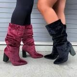 Solid High Heel Mid Calf Boots MYAF-1030
