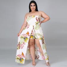 Plus Size Floral Print Strapless Cutottes Long Dress CYA-1622