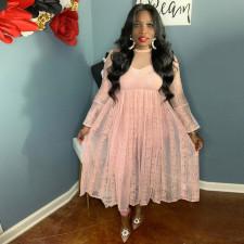 Sexy Lace See Thought High Waist Long Dress CYA-9127