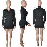 Sexy Solid Long Sleeve Mini Shirt Dress MDUO-M013