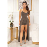 Sexy Solid Color Sling Split Top Shorts Two Piece Sets ASL-6390