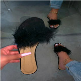 Feather Furry Flat Slippers Shoes MYAF-1001