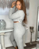 Solid Long Sleeve Thicken Plush Two Piece Pants Set MDUO-M040