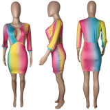 Sexy Gradient Hollow Out Bodycon Dress MDUO-M080