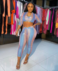 Shiny 3/4 Sleeve Crop Top And Pants 2 Piece Sets MDUO-M078