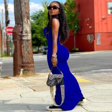 Sexy Slim Solid Color Sling Long Dress YNB-7202