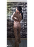 Leopard Print Long Sleeve Flared Pants 2 Piece Sets MDUO-M115