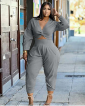 Casual Solid Color Long Sleeve And Pants Two Piece Sets XYMF-68016