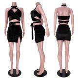 Sexy Cross Halter Neck Tie-UP Slit Skirt Suit ASL-6380
