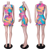 Fashion Print Tie-Up Sleeveless Skirt Two Piece Sets ASL-6388