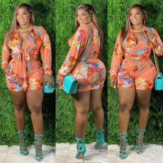 Plus Size Floral Print Sexy Long Sleeve Shorts Two Piece Sets FNN-8626