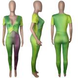 Plus Size Gradient V Neck Short Sleeve Jumpsuit MDUO-DM014