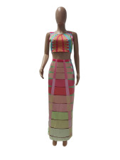 Casual Printed Sleeveless Maxi Skirt 2 Piece Sets MDUO-M007