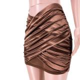 Sexy Halter Neck Mesh Splice Ruched Skirt Suit ASL-6378