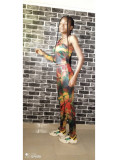 Sexy Printed One Shoulder Two Piece Pants Set MDUO-M177
