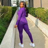 Solid Hooded Long Sleeve 2 Piece Pants Set MDUO-M089