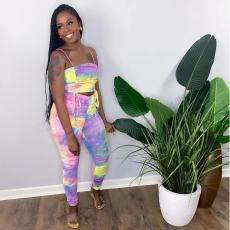 Sexy Printed Drawsting Ruched Two Piece Pants Set MDUO-M051
