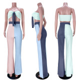 Chest Wrapped Contrast Color Splice Flared Pants Two Piece Sets ASL-6379