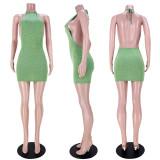 Solid Color Sexy Halter Neck Backless Mini Dress ASL-6381