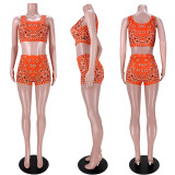 Fashion Sports Print Vest Shorts Two Piece Sets ASL-6376