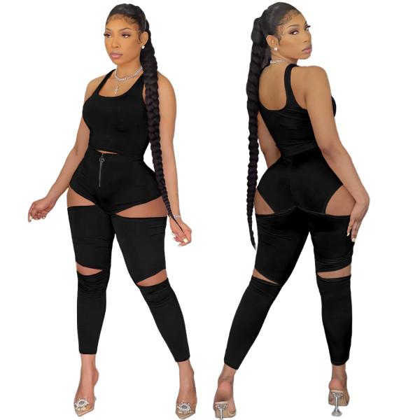 Solid Color Fashion Vest Hollow Zipper Pants Two Piece Sets ASL-6387