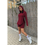 Solid Color Split Hoodie Shorts Two Piece Sets ASL-6395