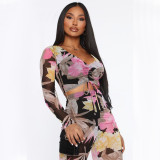 Flower Print Drawstring Crop Top And Pants 2 Piece Sets MDUO-M079