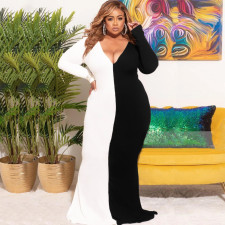 Plus Size Contrast Color V Neck Long Sleeve Maxi Dress BMF-076