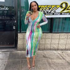Sexy Printed Long Sleeve Maxi Dress WMEF-20768
