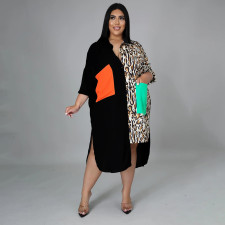 Plus Size Casual Patchwork Long Sleeve Shirt Dress BMF-073