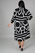 Plus Size Geometric Print Long Sleeve Shirt Dress BMF-074