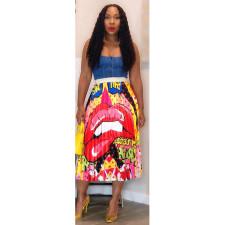 Fashion Print Pleated Skirt ASL-6233